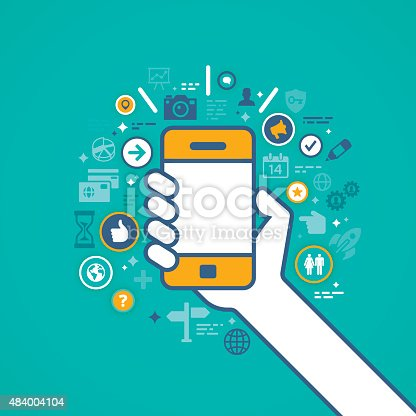 istock Hand Holding Mobile Phone with Apps 484004104