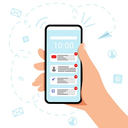Hand holding mobile phone with new email icon Vector illustration concept