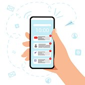 istock Hand holding mobile phone with new email icon Vector illustration concept 1256767138