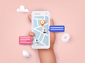 istock Hand holding mobile smart phone with app delivery tracking. Vector modern 3d creative info graphics design on application. 1282276816