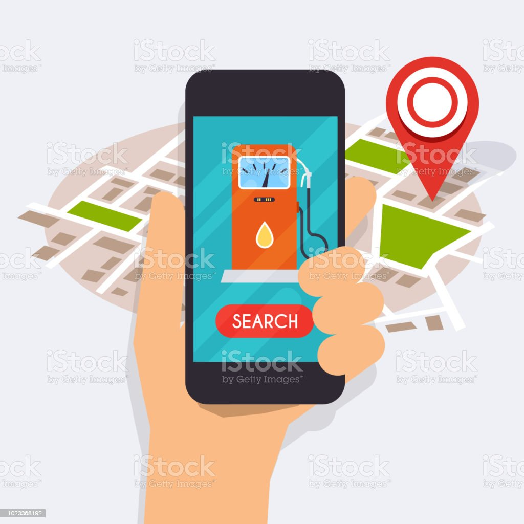 Hand holding mobile smart phone with application search gas station. Find closest on city map. Flat design style modern vector illustration concept. vector art illustration
