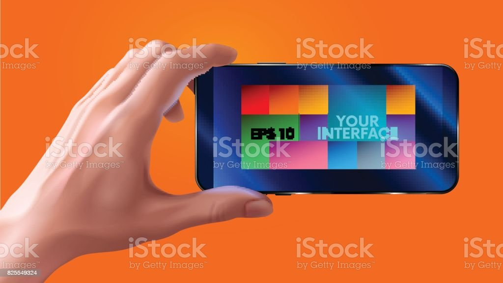 Hand holding mobile smart phone with blank screen. horizontal. photo realistic VECTOR vector art illustration
