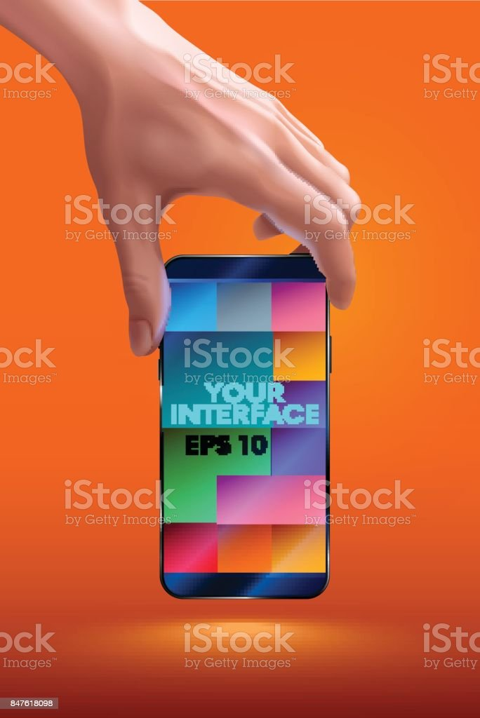Hand holding mobile smart phone with blank screen. vertical. photo realistic VECTOR vector art illustration