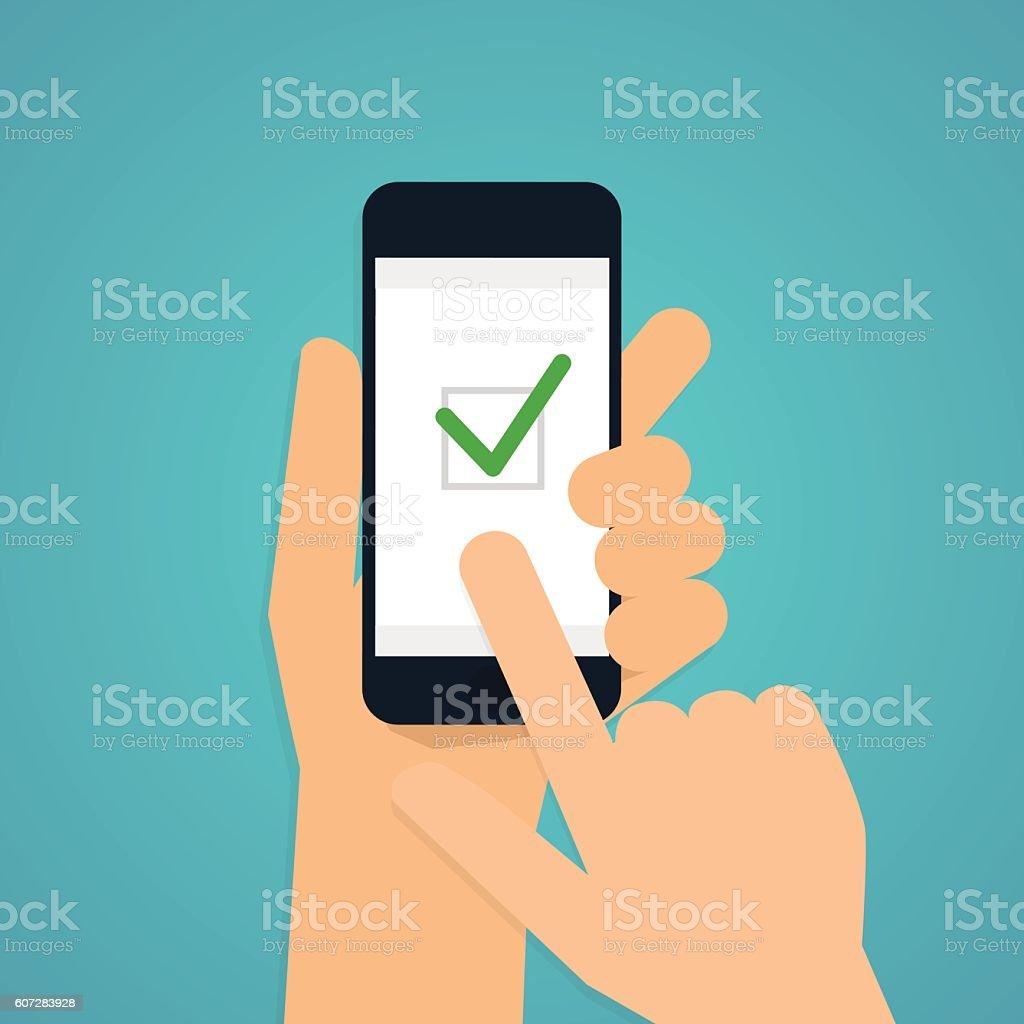Hand holding mobile smart phone with check app. Vector modern vector art illustration