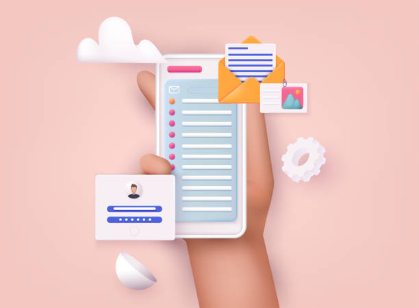 Hand holding mobile smart phone with mail app. Mail service concept. Hand holding mobile smart phone with mail app. Mail service concept. three dimensional stock illustrations