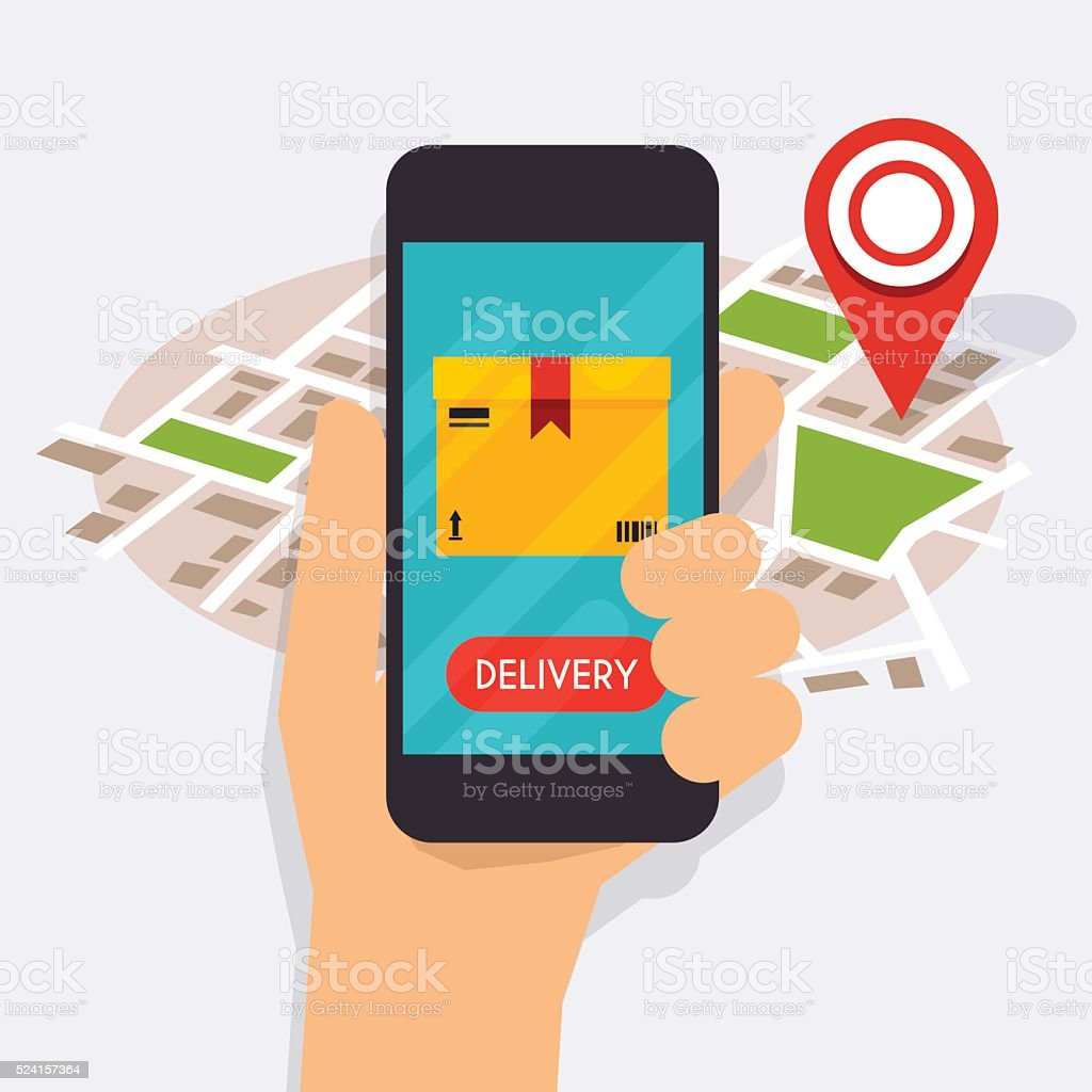 Hand holding mobile smart phone with mobile app delivery trackin vector art illustration