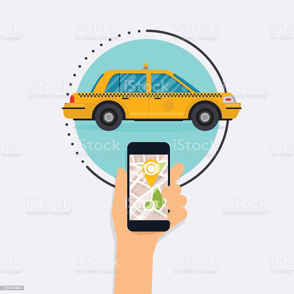 Hand holding mobile smart phone with mobile app search taxi. vector art illustration
