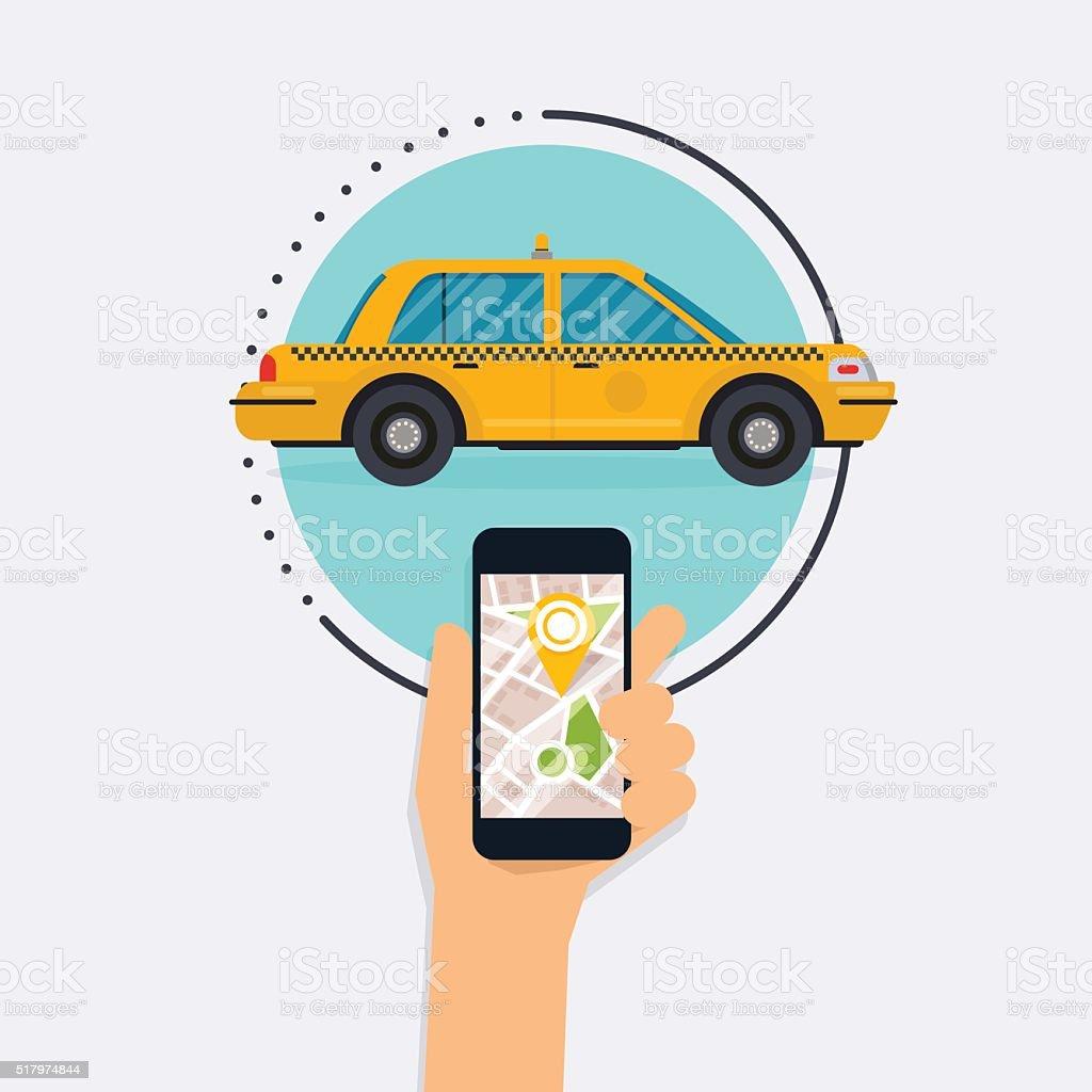 Main tenant le téléphone Mobile intelligent avec application Mobile recherche en taxi. - Illustration vectorielle