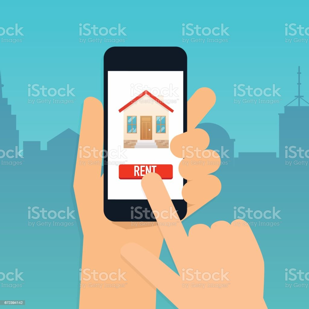 Hand holding mobile smart phone with rent apartments app. Offer of purchase house, rental of Real Estate. Flat design modern vector illustration concept. vector art illustration