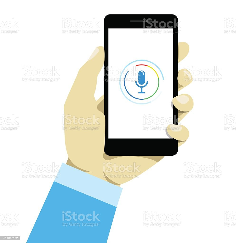 Hand holding mobile smart phone with voice control. vector art illustration