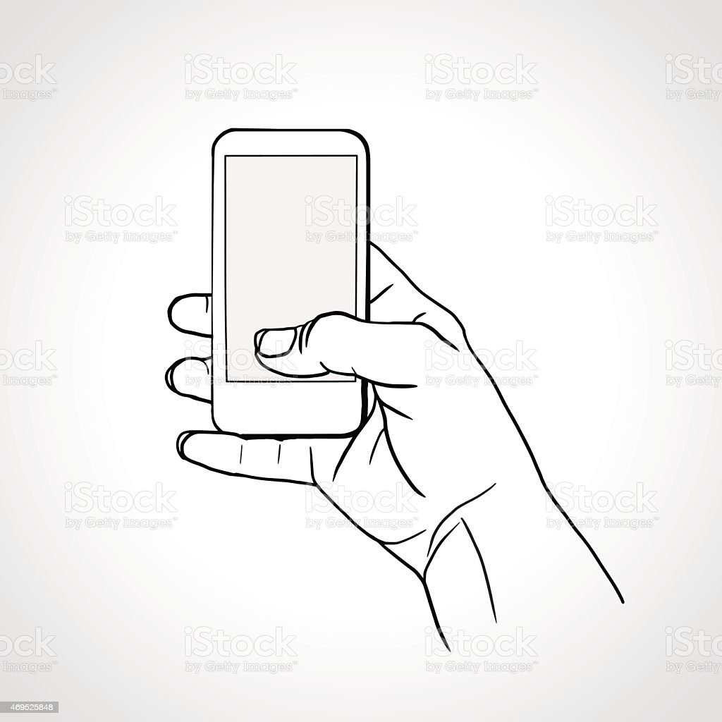Hand Holding Mobile vector art illustration