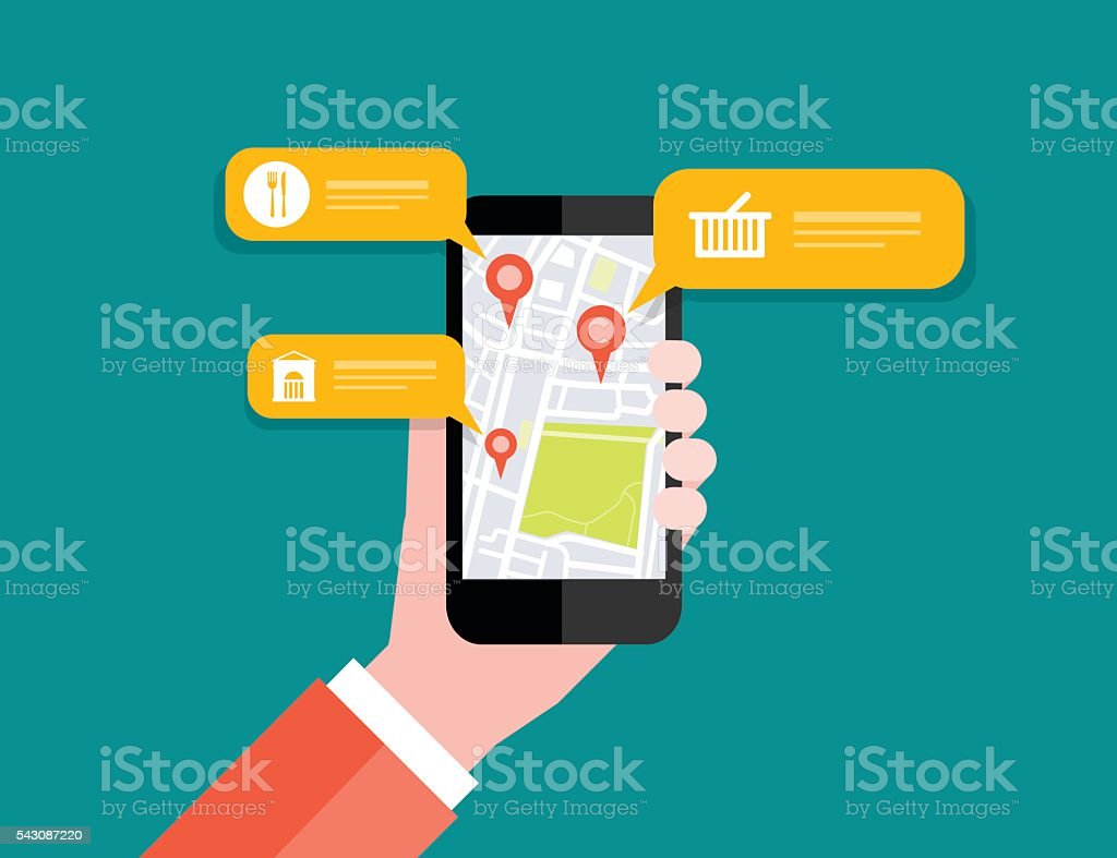 Hand holding mobile with map location navigation.mobile GPS vector art illustration