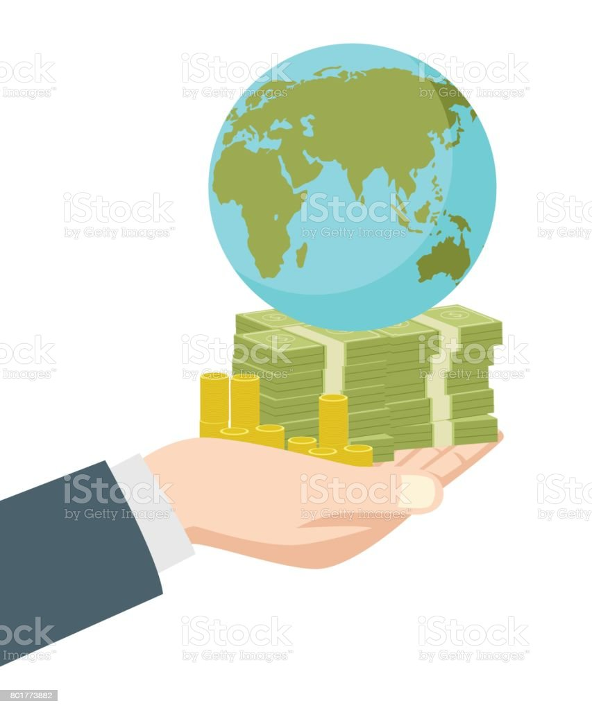 Hand holding money and earth globe vector art illustration