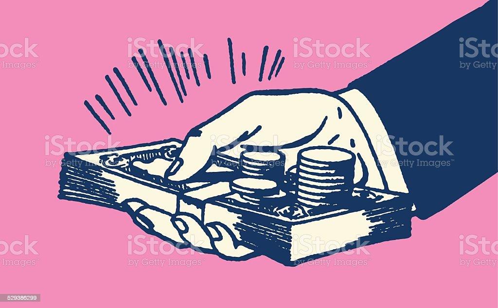 Mão segurando o dinheiro - ilustração de arte em vetor