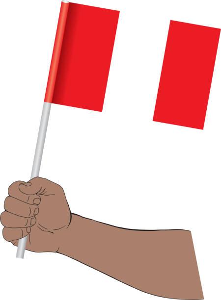 ilustrações, clipart, desenhos animados e ícones de mão que prende a bandeira nacional de peru - bandeira do peru
