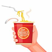 Hand holding noodle instant cup with plastic fork ready to eat. concept cartoon realistic illustration vector isolated in white background