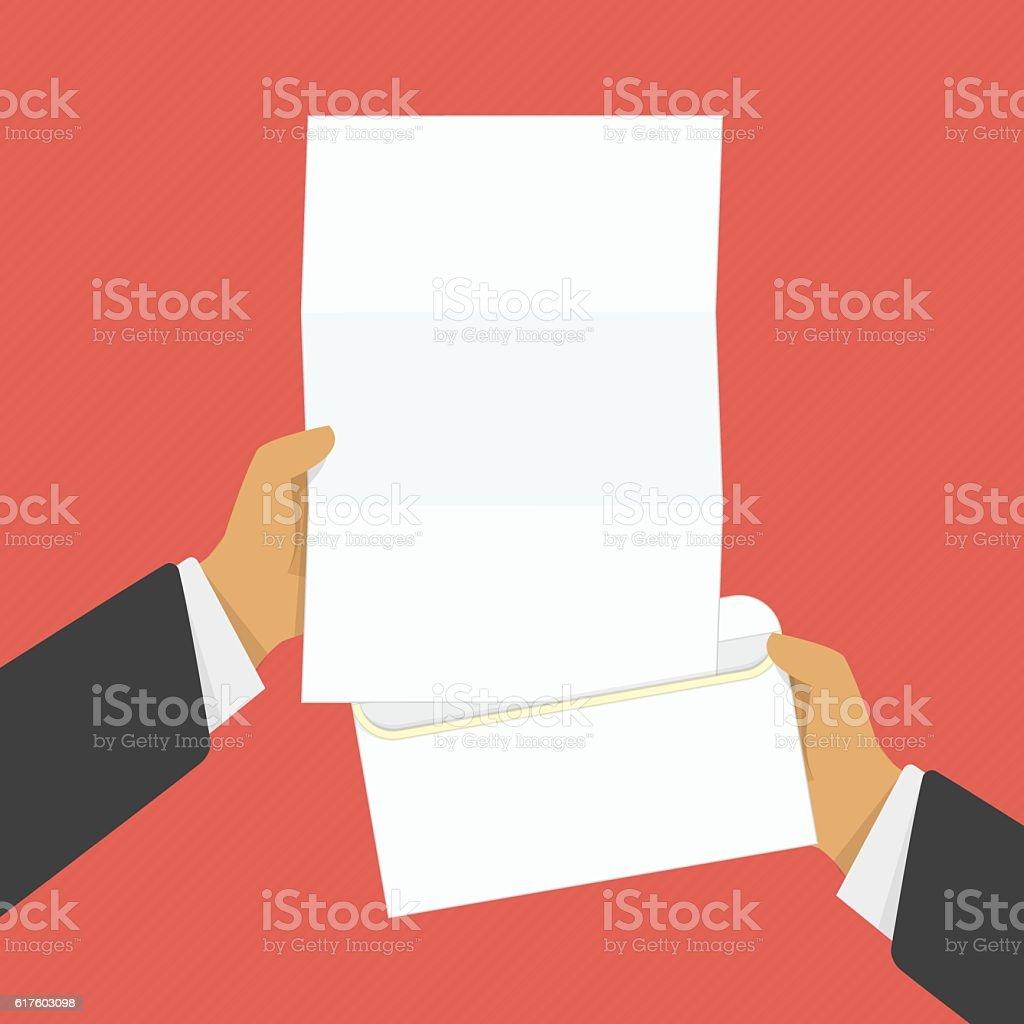 Hand holding opened envelope. vector art illustration