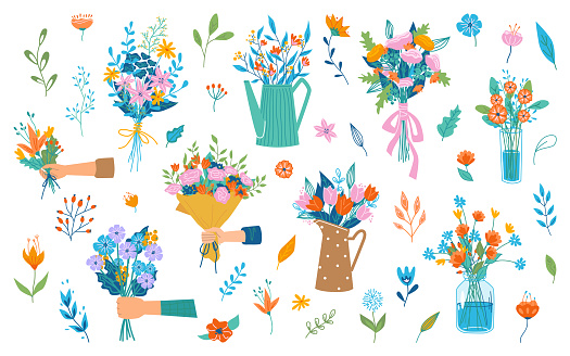 Hand holding or giving blooming bouquet of flowers, spring blossom and flourishing. Florist composition for holiday celebration. Flora in vase, decorative branches. Vector in flat cartoon style