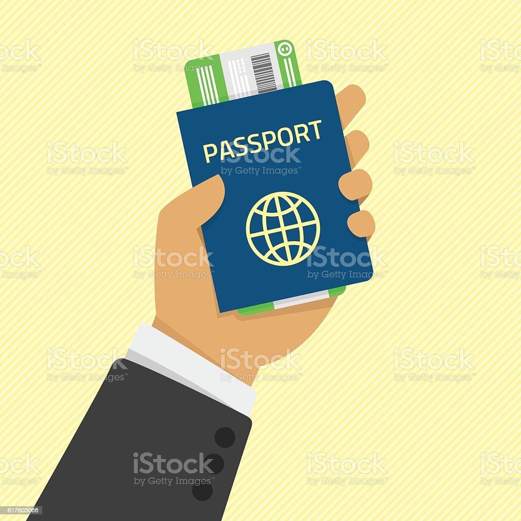 Hand holding passport with tickets. ベクターアートイラスト