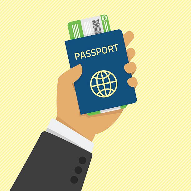hand holding passport with tickets. - id盗難点のイラスト素材/クリップアート素材/マンガ素材/アイコン素材