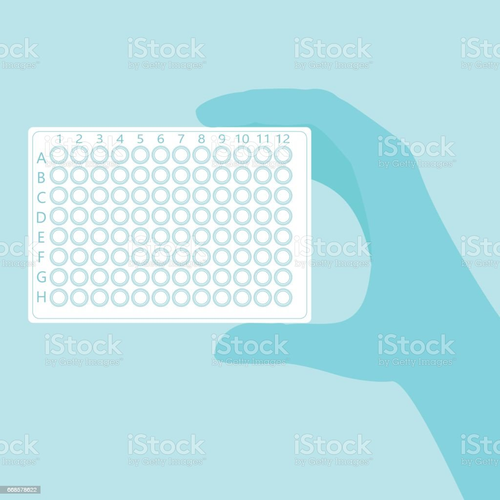 hand holding pcr plate vector art illustration