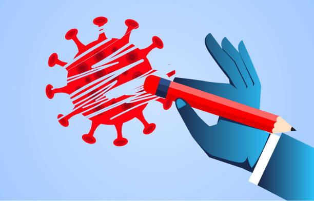 Hand holding pencil eraser to erase new coronavirus, concept illustration to defeat new coronavirus pneumonia vector art illustration