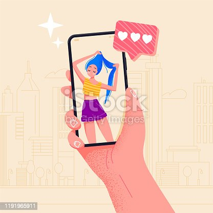 Cute girl on screen. Hand holding phone beautiful girl on screen. Video call app. Finger touch screen flat vector illustration design for web site or banner. Make selfie with smartphone. Online dating chat or take photo.