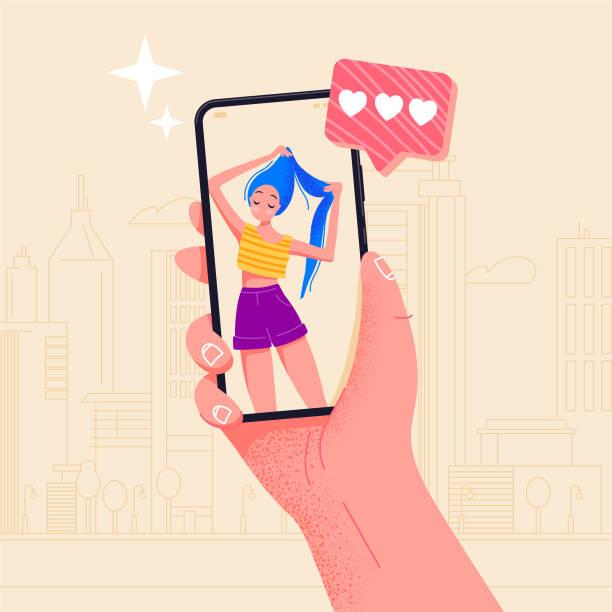 hand halten telefon schöne mädchen auf dem bildschirm. video anruf app. finger touchscreen flache vektor-illustration design für website oder banner. machen sie selfie mit smartphone. online-dating-chat oder foto machen. - selfie stock-grafiken, -clipart, -cartoons und -symbole