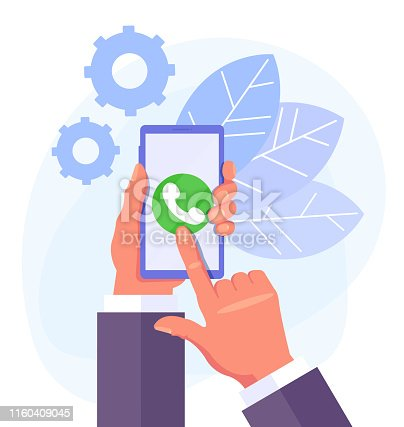 Hand holding phone. Phone call concept. Vector flat cartoon graphic design isolated