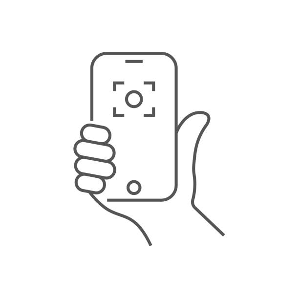 Hand holding phone, selfie icon. Trendy icon selfie on smartphone. Vector illustration. Editable Stroke. EPS 10 vector art illustration