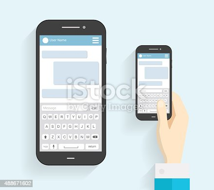 hand holding phone with keyboard phone message template stock vector art more images of 2015. Black Bedroom Furniture Sets. Home Design Ideas