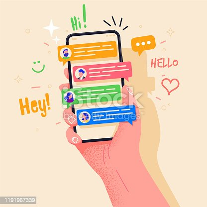 istock Hand holding phone with short messages, icons and emoticons. Chatting with friends and sending new messages. Colorful speech bubbles boxes on smartphone screen flat design vector illustration. 1191967339