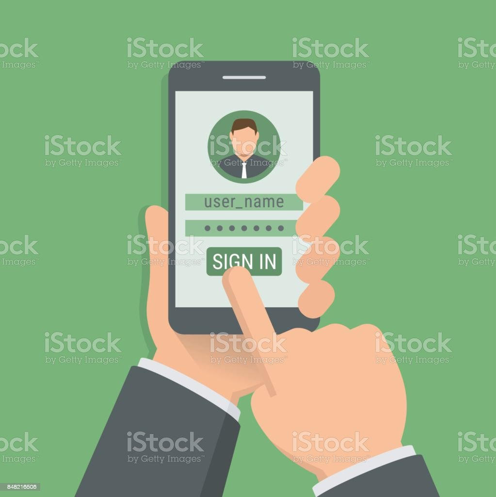 Hand holding phone with sign-in page on smartphone screen, flat design illustration vector art illustration