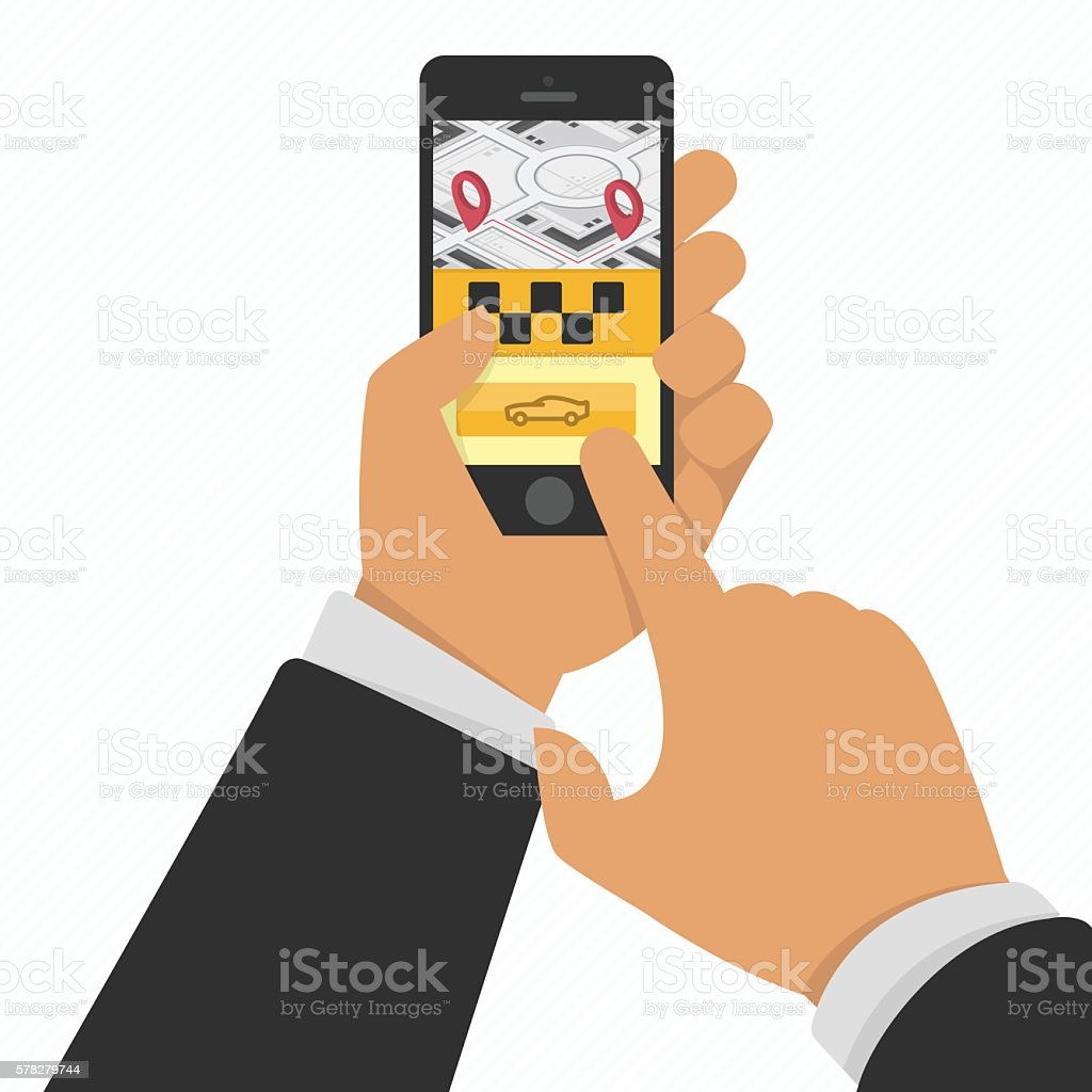 Hand holding phone with taxi service app ベクターアートイラスト