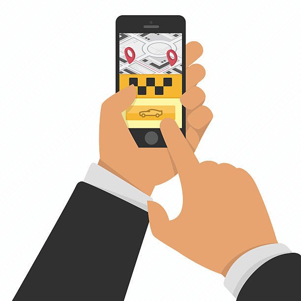 hand holding phone with taxi service app - 相乗り点のイラスト素材/クリップアート素材/マンガ素材/アイコン素材