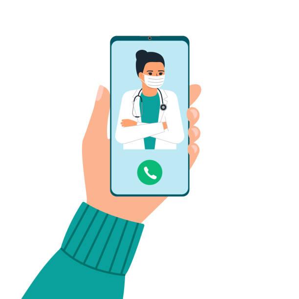 handhalten telefon mit frau arzt auf abruf und eine online-beratung. smartphone-bildschirm mit therapeut. fragen sie den arzt. online-ärztliche beratung, beratungsservice. vektor flache illustration. - smartphone mit corona app stock-grafiken, -clipart, -cartoons und -symbole