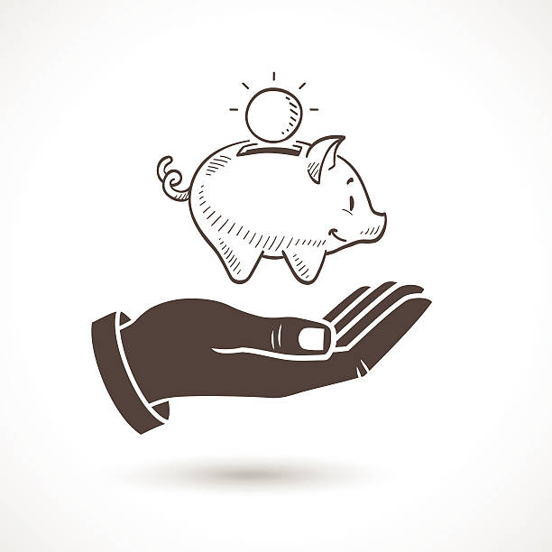 Hand Holding Piggy Bank Vector Hand holding a hand drawn piggy bank, vector icon. piggy bank stock illustrations