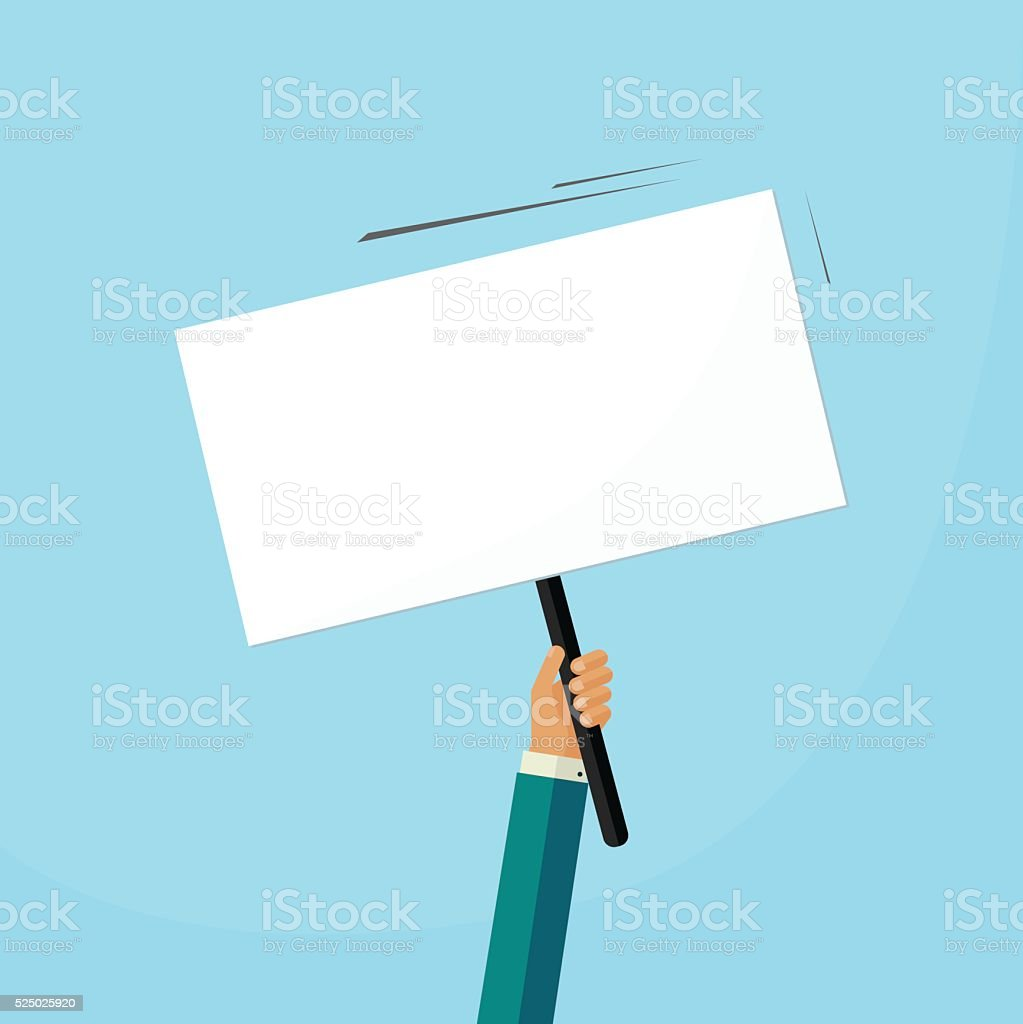 Hand holding placard with empty space for text,  swinging board vector art illustration