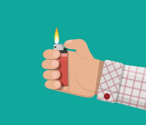 hand halten plastikfeuerzeug - feuerzeuggas stock-grafiken, -clipart, -cartoons und -symbole