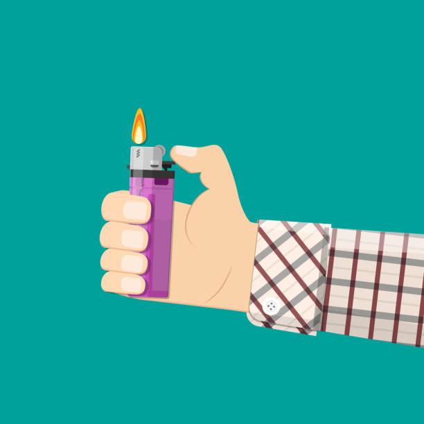 hand halten plastikfeuerzeug. - feuerzeuggas stock-grafiken, -clipart, -cartoons und -symbole