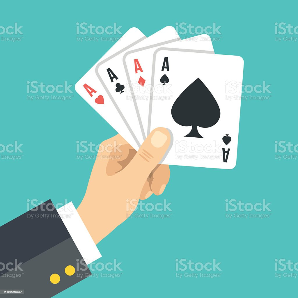 Hand holding playing cards. Four aces. Poker, gambling. Vector illustration - ilustração de arte em vetor