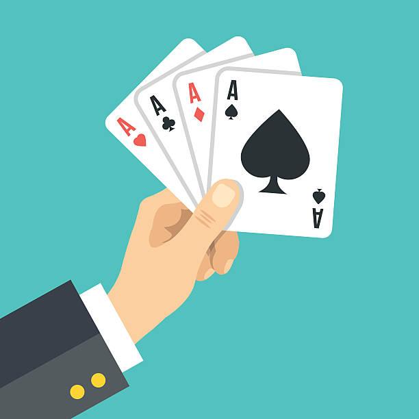 stockillustraties, clipart, cartoons en iconen met hand holding playing cards. four aces. poker, gambling. vector illustration - wat