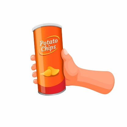 Hand holding potato chips in tube can packaging. snack food product concept in cartoon illustration vector on white background