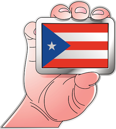 hand holding Puerto Rico flag