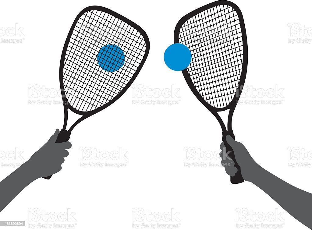 Hand Holding Racquetball Racquet Silhouettes vector art illustration