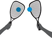 Hand Holding Racquetball Racquet Silhouettes