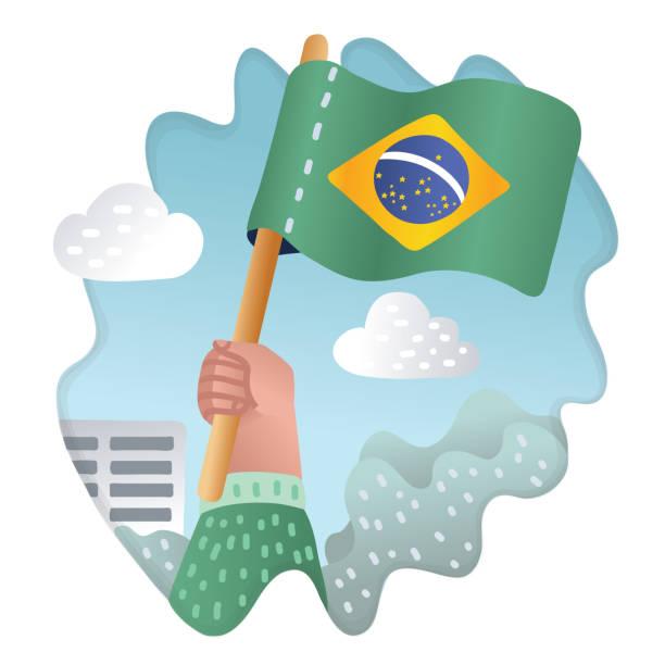 手捧, 舉起巴西國旗 - 獨立 幅插畫檔、美工圖案、卡通及圖標