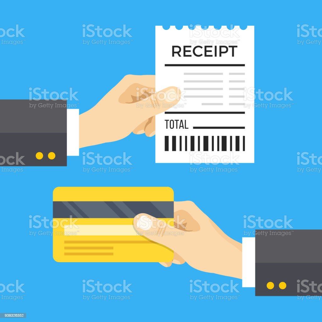 Hand holding receipt and hand holding credit card. Cashless payment concept. Flat design vector illustration isolated on blue background