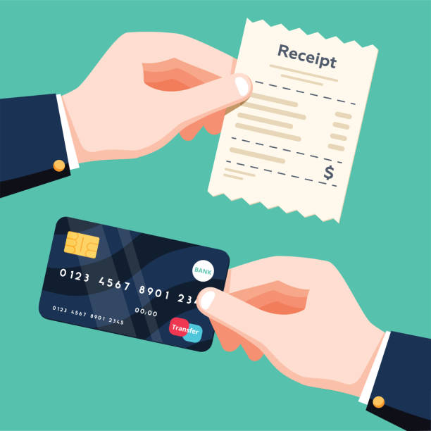 illustrazioni stock, clip art, cartoni animati e icone di tendenza di hand holding receipt and hand holding credit card. cashless payment concept. flat design vector isolated illustration - credit card