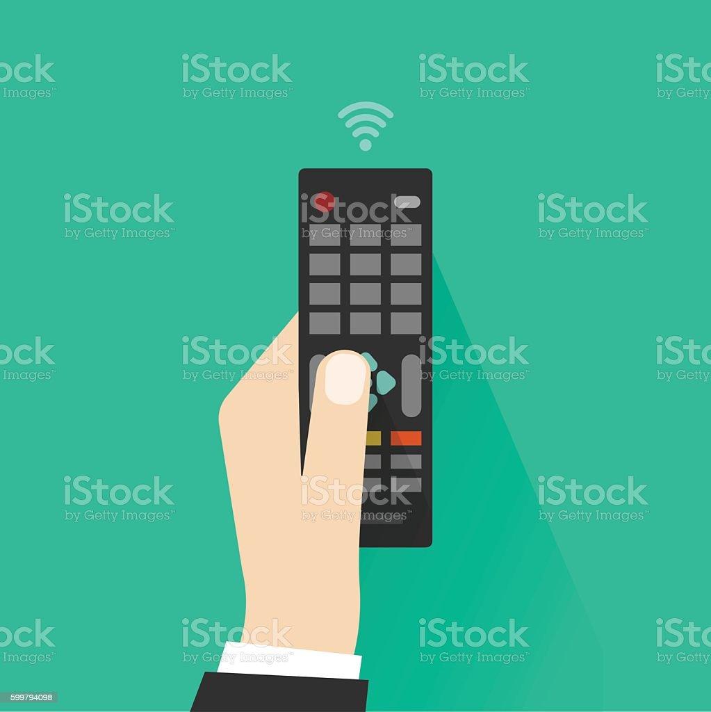 Hand holding remote control from TV vector illustration vector art illustration